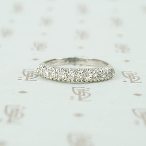 1940's 10 diamond wedding band in platinum with knife edge band