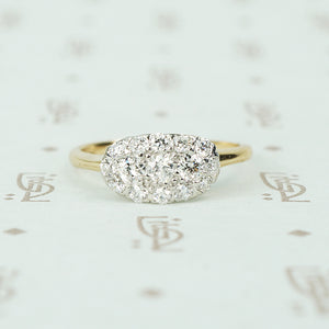 gorgeous east west platinum on yellow gold oec diamond clluster ring