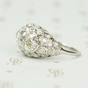 Edwardian Platinum and Diamond Dome Ring