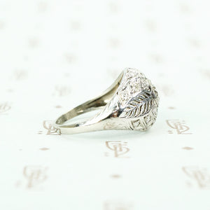 Edwardian Platinum Filigree Feather Ring side view