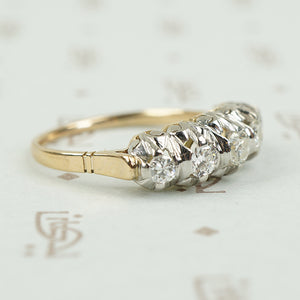 side view of 2 tone diamond band platinum on gold