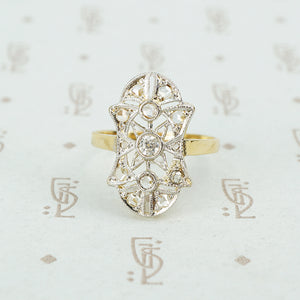 lacy platinum on 18k rosecut diamond ring