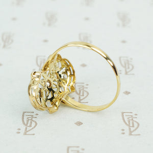lacy platinum on 18k rosecut diamond ring back view