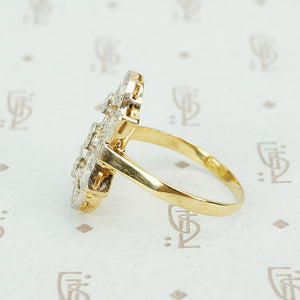 lacy platinum on 18k rosecut diamond ring side profile