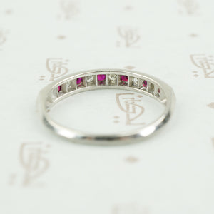 Platinum ruby and diamond band 1940's back view