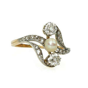 Rose Gold and Platinum Ring with Diamonds and Natural Pearl