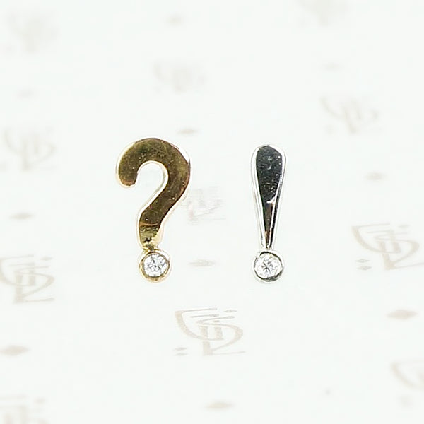 Question Mark and Exclamation Point Stud Earrings by 720