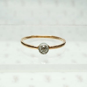 Orbit Petite Platinum & Rose Gold Diamond Solitaire