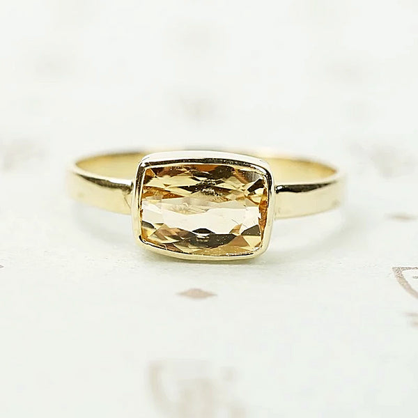 083809792 Cushion Cut Imperial Topaz Ring in 14k Yellow Gold