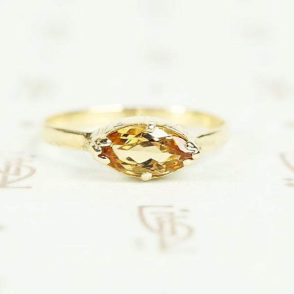 Cut Back Collet Imperial Topaz Marquis Solitaire Ring