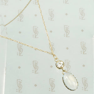 Luna Moonstone and Diamond Pendant