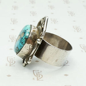 Asymmetric Turquoise Ring in Sterling Silver
