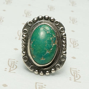 Beautiful Green Turquoise Ring with Rocker Designs