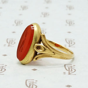 Antique Hunting Dog Intaglio 18k Gold Ring