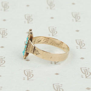 Victorian Pearl and Turquoise Ring in Rosy Gold