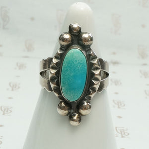 Elaborate Machine Made Turquoise & Silver Ring