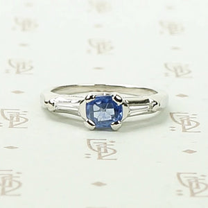 Cornflower Blue Antique Sapphire in 1940's Platinum