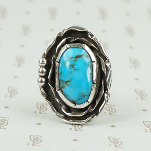 Bold Floral Turquoise and Silver Ring