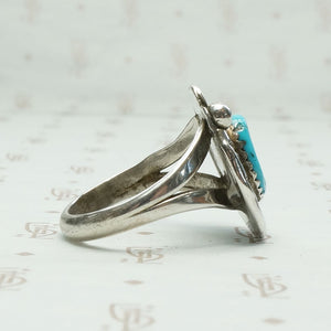 Sleeping Beauty Turquoise in Ornate Silver Ring