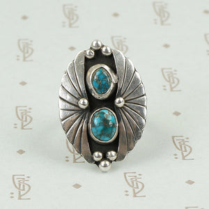 Dramatic Sterling Silver and Turquoise Ring