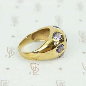 Iolite and Diamond Studded Bombé Ring