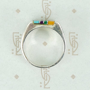 Sterling Band with Colorful Inlay