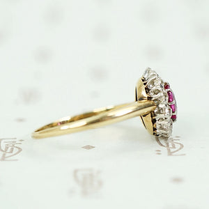 Enchanting Antique Ruby Halo Ring