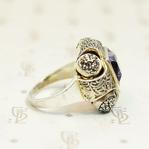 Amethyst and Marcasite Fahrner Silver Gilt Ring