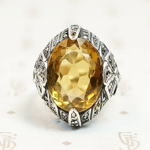 Brilliant Citrine Art Deco Fahrner Ring