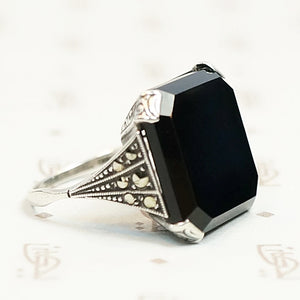 Onyx and Marcasite Sterling Art Deco Ring