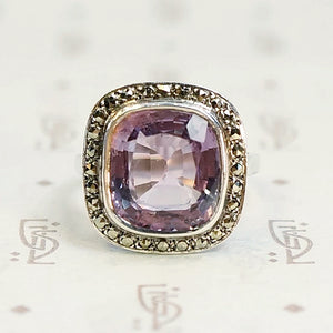 Gorgeous Cushion Cut Amethyst in Silver Ring