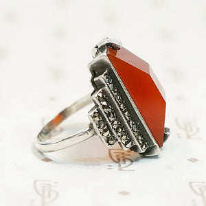 Carnelian and Marcasite Step Side Art Deco Ring