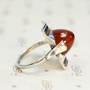 Domed Carnelian and Enamel 1930s Silver Ring