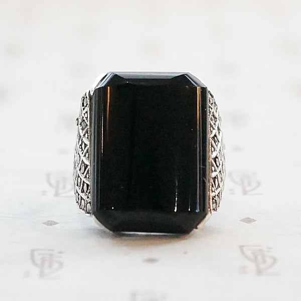 German Dark Sparkle Onyx and Marcasite Ring