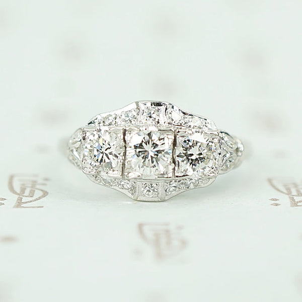 1930s Transitional Cut Diamond and Platinum Ring