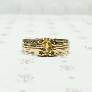 European Imperial Topaz & Engraved Gold Band