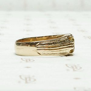 European Imperial Topaz & Engraved Gold Band, side view
