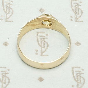 European Imperial Topaz & Engraved Gold Band, top view