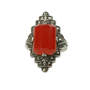 Vintage Deco Sterling Silver Carnelian & Marcasite Ring