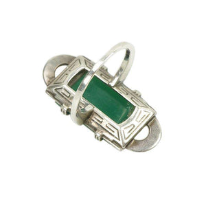 Deco Silver and Marcasite Ring set with Chrysoprase