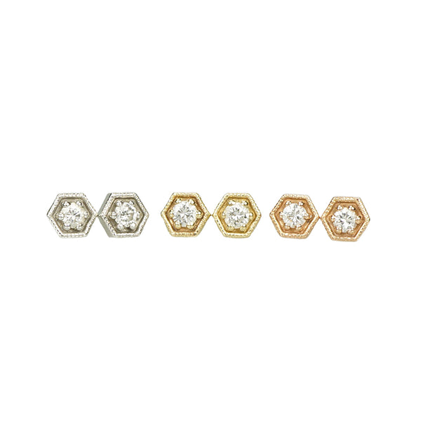 Tiny Diamond Studs Recycled Gold and Diamonds - Gem Set Love