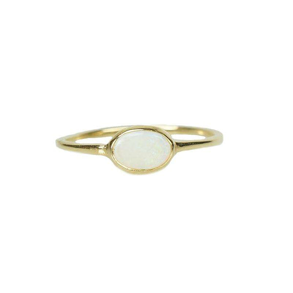 Delicate Opal Ring in Yellow Gold
