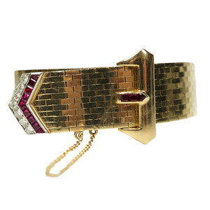 Retro Gold and Platinum Buckle Bracelet Rubies and Diamonds