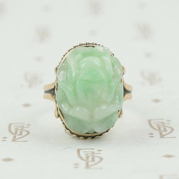 carved jade beetle in 14k gold ring