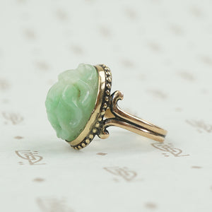 side view of carved jade scarab beetle ring