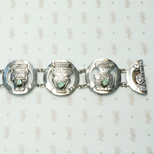 Figural Peruvian Panel Bracelet with Emeralds