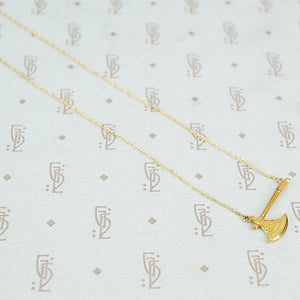 14k gold hatchet necklace