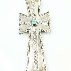Long strand of Natural Turquoise Nuggets with a Large Silver Cross