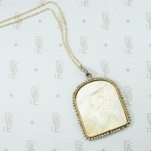 "Carved Antique Mother of Pearl Pendant ""Rosario"""