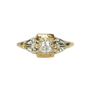 Rose and White Gold Vintage Diamond Engagement Ring - Gem Set Love